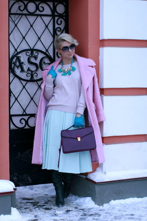 bubble gum asoscom coat - light pink H&M sweater