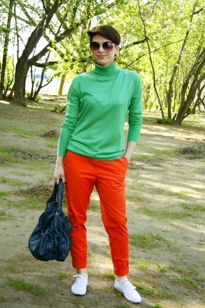 carrot orange H&M pants - chartreuse BeFree sweater