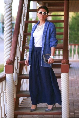 blue H&amp;M cardigan - navy new look skirt