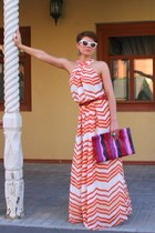 carrot orange cotton dress - hot pink Prada bag