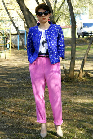 blue Marni at H&amp;M jacket - hot pink H&amp;M pants