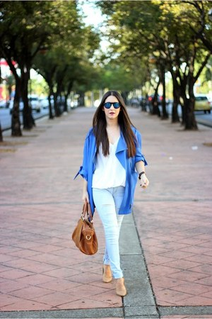 blue Sheinside jacket - tawny Sole Society bag - tan Forever 21 pumps