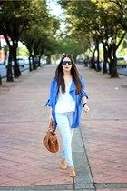 blue Sheinside jacket - tawny Sole Society bag - tan Forever 21 pumps