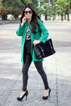 black Schutz pumps - black Shoedazzle pumps - green Sheinsidecom coat