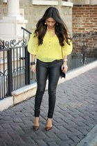 black Sole Society bag - black ray-ban sunglasses - yellow Oxford top