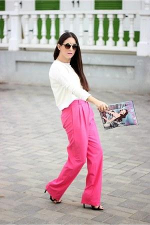 pink Zara pants - ivory Forever 21 sweater - black Zara heels