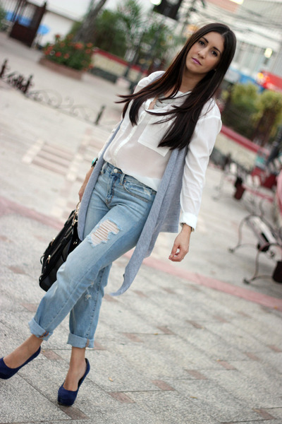 white Bershka shirt - light blue Gap jeans - black Shoedazzle bag
