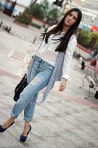 white Bershka shirt - light blue Gap jeans - black Shoedazzle bag