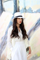 white Forever 21 hat - white suiteblanco shirt - off white Sheinside vest