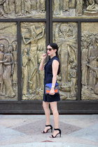 blue Shoedazzle bag - black Local store dress - black Stradivarius sandals