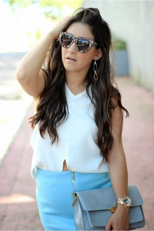 sky blue Lucy Paris skirt - heather gray Forever 21 bag - nude Forever 21 pumps