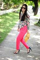 pink Local store pants - mustard banana republic bag