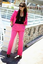 black Stradivarius top - hot pink H&M blazer - hot pink Zara pants