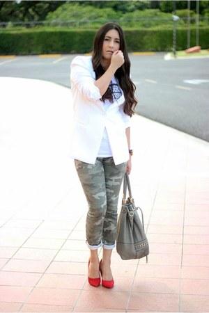 ivory Forever21 blazer - heather gray Sole Society bag - olive green Gap pants