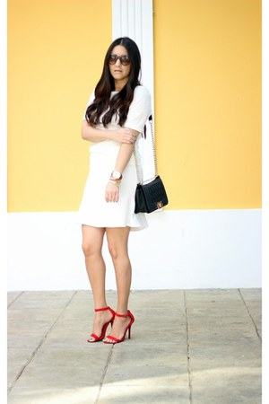 white Lucy Paris skirt - black PERSUNMALL bag - red Lulus heels