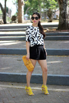 black Forever 21 shorts - gold banana republic bag - ivory Local store top