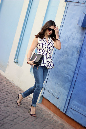 black Shoedazzle bag - navy Zara jeans - black Shoedazzle heels