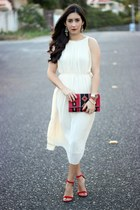 red suiteblanco bag - ivory Sheinsidecom dress - red Lulus heels - Invicta watch