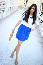 mustard banana republic bag - blue Forever21 skirt - tan Sole Society pumps