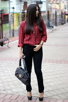 J Brand jeans - thrifted vintage shirt - Sisley bag - ray-ban sunglasses