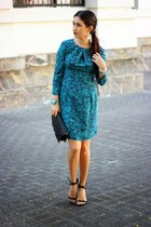 black Sole Society bag - teal Local store dress - black Zara heels