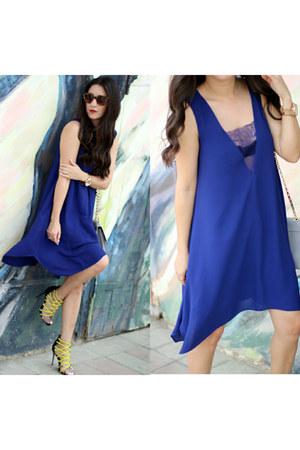 blue bcbg max azria dress - brown Local store sunglasses