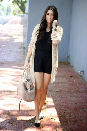 gold Forever21 cardigan - nude Sole Society bag - black Forever 21 shorts