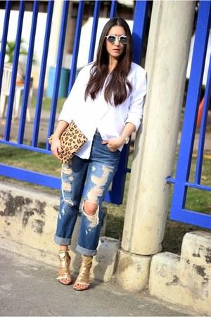 white Zara shirt - blue Forever21 jeans - gold Shoedazzle heels