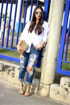 white Zara shirt - blue Forever21 jeans - gold Shoedazzle heels