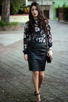 Zara blouse - black Sole Society bag - black Forever 21 skirt