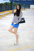 white Sheinsidecom blouse - black Olivia  Joy bag - blue Lucy & Co shorts