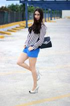 white Sheinsidecom blouse - black Olivia  Joy bag - blue Lucy & Co shorts