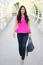 navy Gap jeans - hot pink Forever 21 top - silver Shoedazzle pumps
