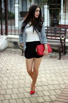 red Shoedazzle pumps - Charlotte Russe blazer - black Forever21 shorts