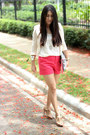 Neutral-h-m-jacket-red-forever-21-shorts-eggshell-papaya-top