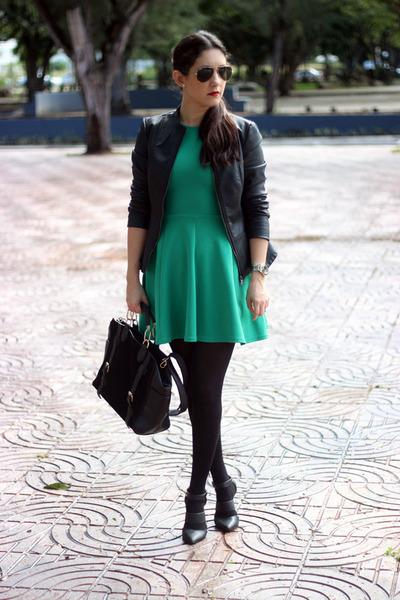 black Forever21 jacket - green Local store dress - black Shoedazzle bag
