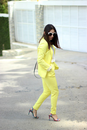 light yellow Sheinsidecom blazer - peach calvin klein bag
