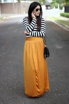 bronze Forever 21 skirt - black Sole Society bag - Ray Ban sunglasses