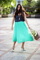 aquamarine Sheinsidecom skirt - nude Sole Society bag - silver Shoedazzle pumps