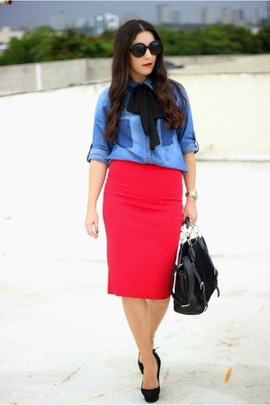 blue thrifted vintage shirt - black Shoedazzle bag - red Local store skirt