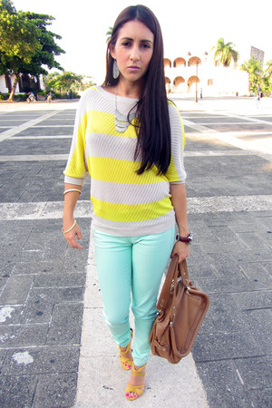 yellow Express sweater - aquamarine Kan Kan pants - yellow Aldo sandals