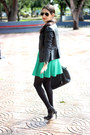 Green-local-store-dress-black-forever21-jacket-black-shoedazzle-bag