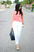 peach Local store top - white Forever21 pants - peach Schutz pumps