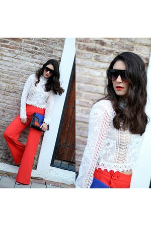 white Glam Fashion Store top - coral Glam Fashion Store pants