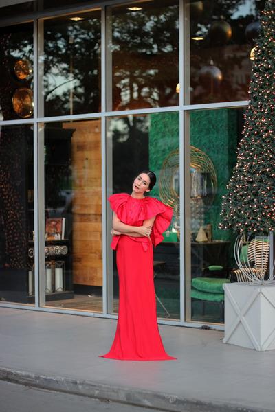 red Jusef Sanchez dress - red Lulus heels