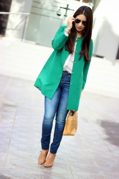 green Sheinsidecom coat - blue Zara jeans - white Bershka shirt