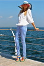White-h-m-blouse-blue-new-yorker-pants-blue-plato-sandals