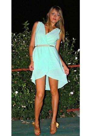 mint DIY dress - gold gold heels