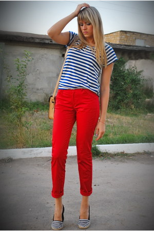 navy Aeropostale top - red Mango pants