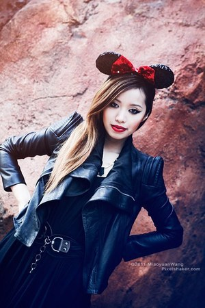 black dress - red hat - black jacket